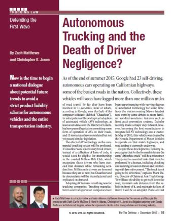 Autonomous Trucking and the Death of Driver Negligence?